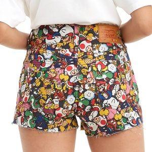 NEW Levi's x Super Mario 501 High Rise Jean Shorts